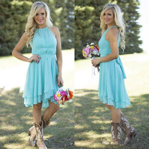 Image Is Loading Sky Blue Country Bridesmaid Dresses Short Maid Of