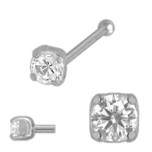 2,5 M 925 plata nasenstecker piercing 4-garras con bala con circonita aprox
