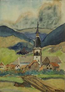 """"""" Ingersheim Vue Alsace """" Aqua. Sign. / Dat. M.hunsinger 2.11.1942"""