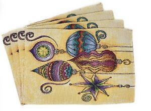 DaDa-Bedding-Elegant-Christmas-Ornaments-Placemats-Set-of-4-Tapestry-13-x-19