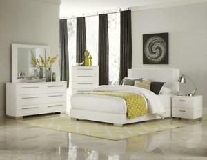 Details about METRO - Ultra Modern 5pcs Glossy White Queen King Platform  Bedroom Set Furniture
