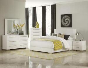 Details About Metro Ultra Modern 5pcs Glossy White Queen King Platform Bedroom Set Furniture
