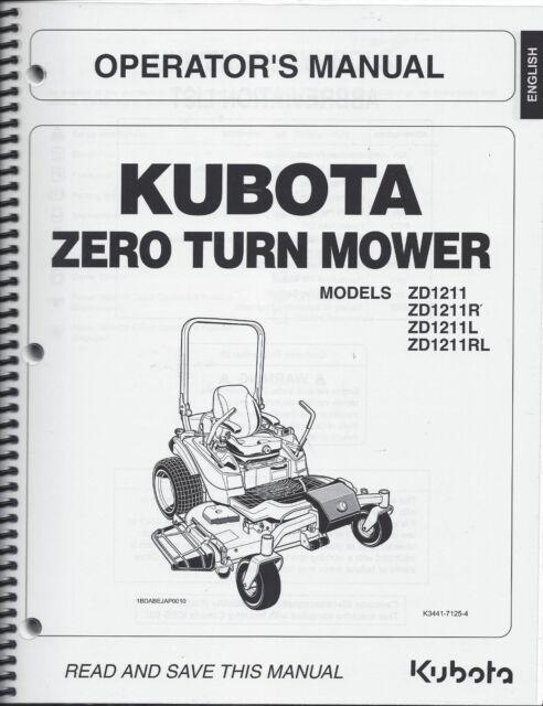 kubota zd1211 zero turn mower operator manual k3441 71254 ebay rh ebay com Kubota L3940 Schematic Kubota Schematics