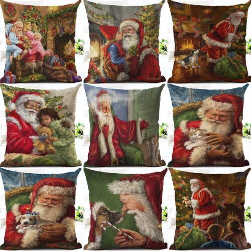 Father Christmas Pattern Cotton Linen Home Décor Throw Pillow Case Cushion Cover