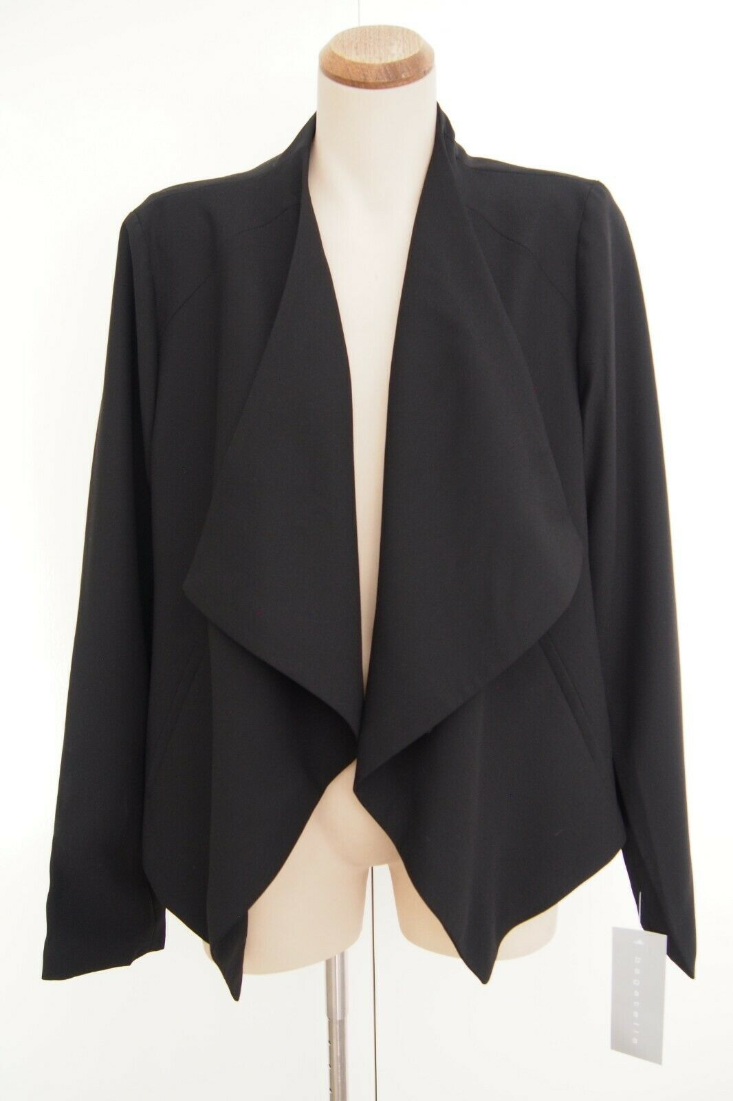 BAGATELLE Black Open Drape Front Crepe Jacket Size XL / 16 BRAND NEW WITH TAGS