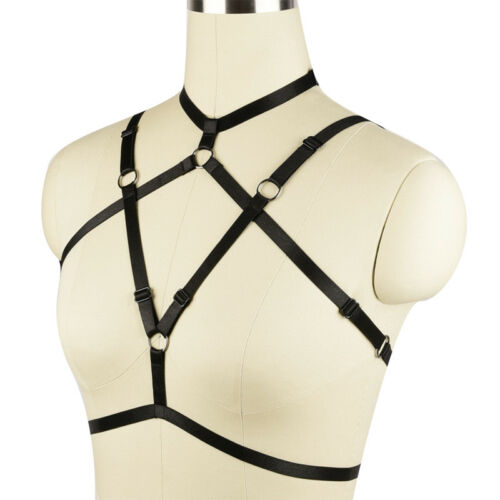 Womens Black Elastic Harness Rave Cage Bralette Top punk Strappy Dress