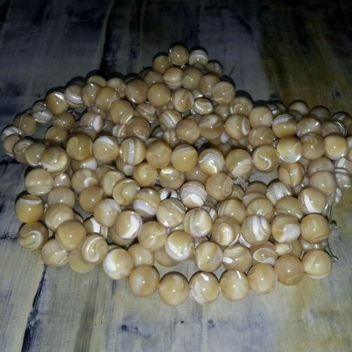 8mm Natural Freshwater Shell Bead Honey approx 52 pcs  Free Postage Oz Seller