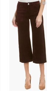 NEW 7 For All Mankind Merlot Red Corduroy Culottes Crop Pants Womens Sz 29