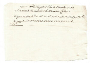Louis XV royal manuscript lottery ticket November 1743 **** JUST ONE **** RARE *