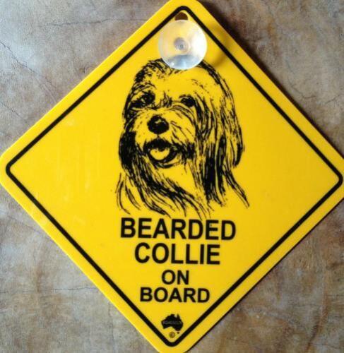 12cm escudo Roadsign con ventosa bearded Collie cárnica perro