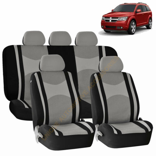 GRAY Front /& Back SPLIT BENCH SEAT COVERS 9PC SET for DODGE RAM JOURNEY