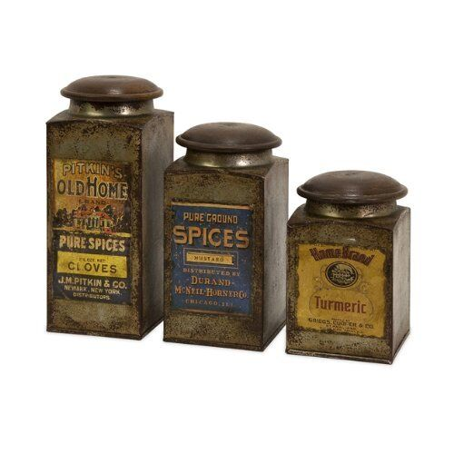Antique Metal Canister 3pc Vintage Kitchen Spice Storage Display Decor Rustic