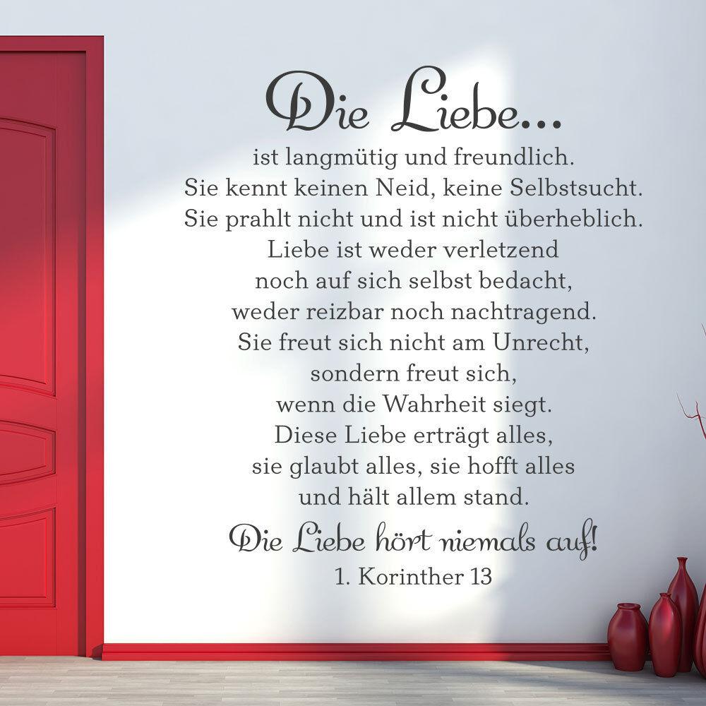 Wandtattoo Die Liebe ist langmütig und freundlich... - 1 Korinther 13 KLEBEHELD®