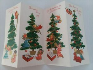 UNUSED-Vtg-ANGELS-Decorate-TREE-4-Fold-CHRISTMAS-GREETING-CARD-New-Old-Stock