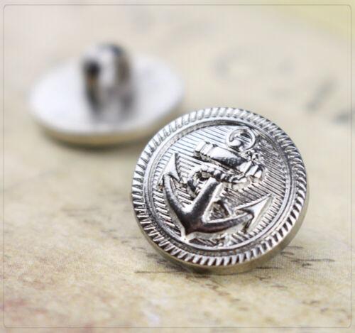 6 Acryl Ösenknöpfe Knopf Nähen DIY Anker maritim Meer nautisch 15x3mm silber