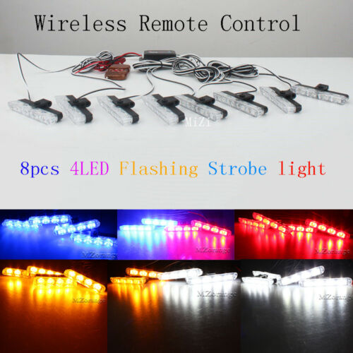 Red Blue Amber White Green LED Car Truck Strobe Flashing Lights Wireless Remote
