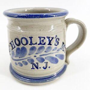 Schooley's Mountain Stoneware Pottery Coffee Mug Salt Glazed Cobalt Blue Souveni