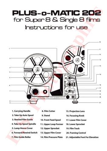Plus O Matic 202 Súper 8mm Proyector instrucciones folleto