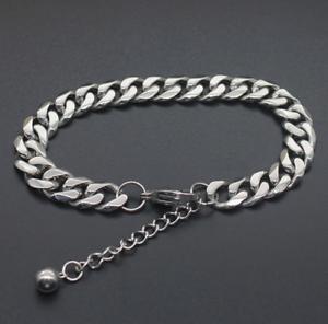 Silber-Kette-Armband-breit-7MM-Arm-18-23cm-Edelstahl-Panzerkette-Herren-Maenner