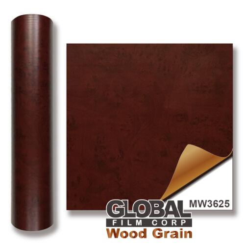 "24/""x36/"" Matt Red Burled Wood Vinyl MW3625 Wood Grain adhesives Vinyl"