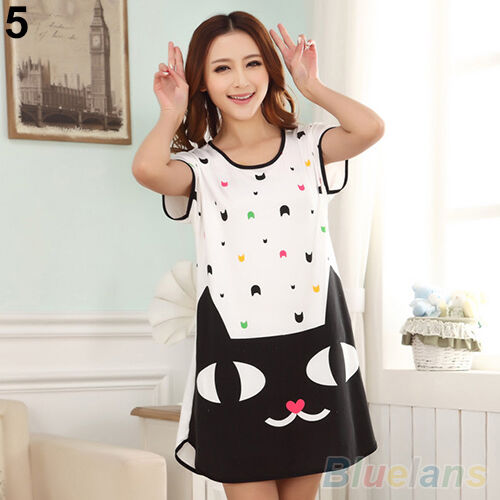 Korean Womens Cute Cartoon Sleepwear Pajamas Short Sleeve Sleepshirt Nightgown