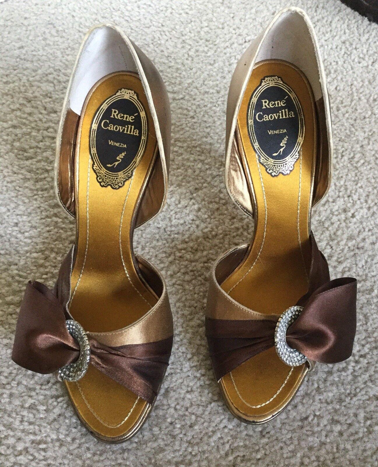 New Rene Caovilla Gold braun Rhinestone D'orsay Pump Heel schuhe 37.5