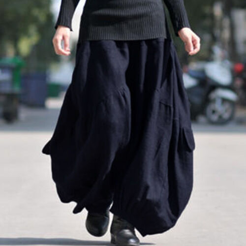 Women Casual Pull-On Pants Culottes Cotton Hippie Gypsy Plus Size Harem Trousers