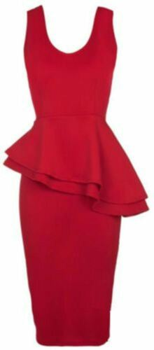 NEW LADIES BODYCON KNEE LENGTH MIDI DRESS WOMEN SLEEVELES SIDE FRILL PEPLUM 8-26