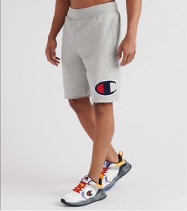 Champion-Oxford-Grey-Reverse-Weave-Cut-Off-Big-C-Shorts