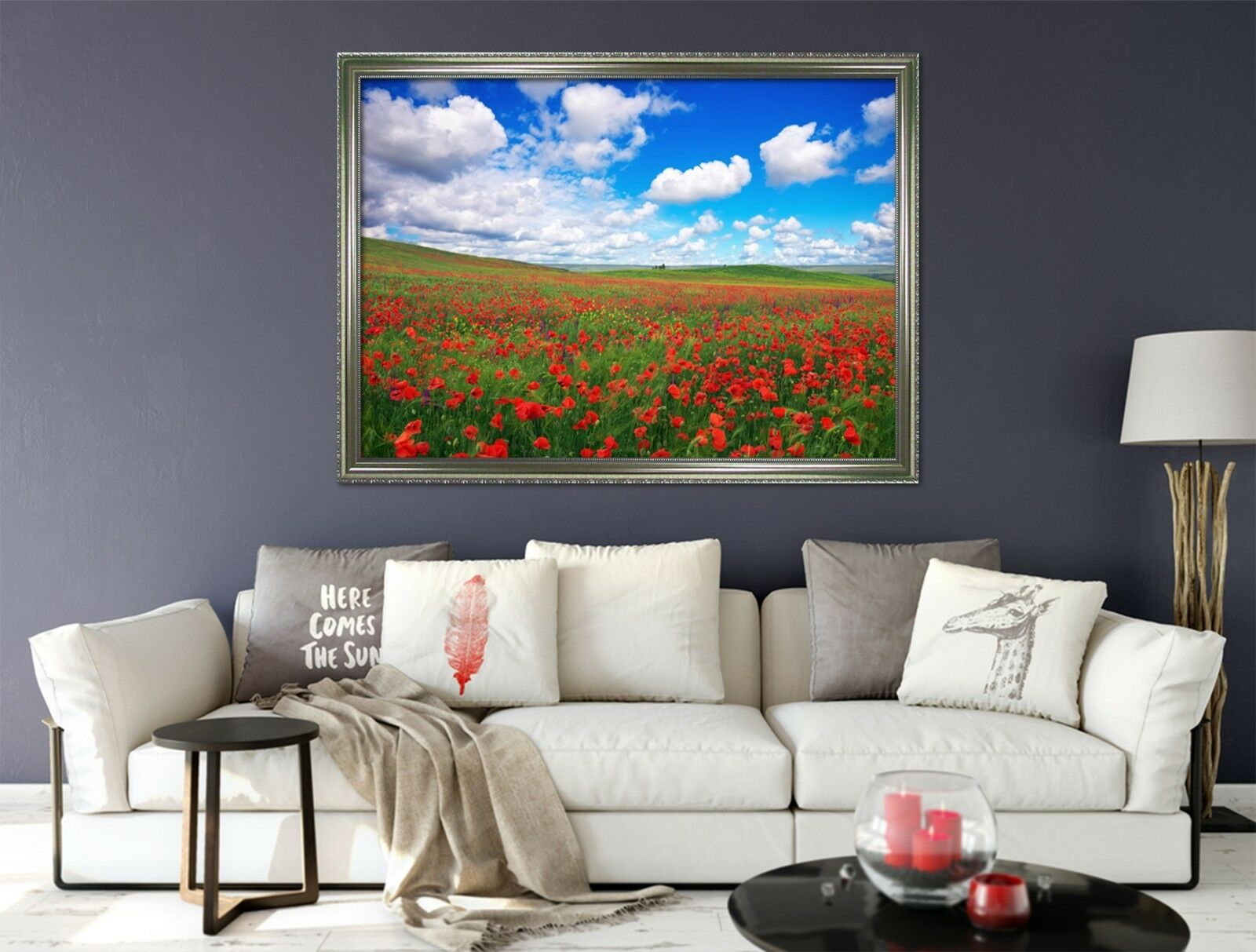 Campo De Flores 3D 67 Póster Enmarcado Decoración del Hogar Pintura de Impresión Arte AJ Wallpaper