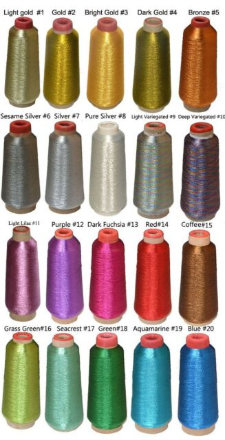 Metallic Embroidery Thread,20 Shiny Colors For Your Choice,  4000m/4400 yards