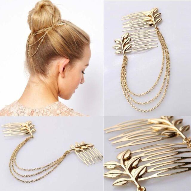 Women Fashion Gold Tone Leaf Hair Comb Clip Cuff Chain Head Jewelry Headpiece HG