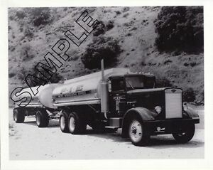 Détails : P I E  1950s/60s PETERBILT 351 TANK TRUCK & TRAILER 8x10 B&W  Glossy Photo