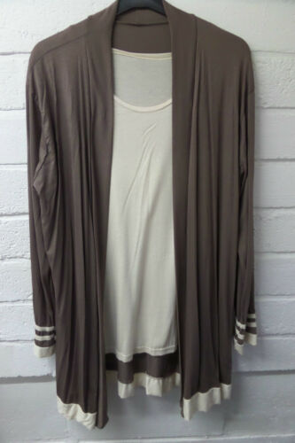 Womens Ladies New Stretchy Contrast Plus Size Cardigan with Top UK 14-18 COLOURS