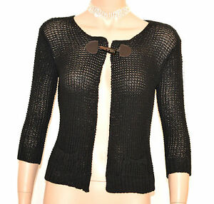 MAGLIA-FILO-CARDIGAN-NERA-donna-coprispalle-maglietta-manica-3-4-bolero-E205