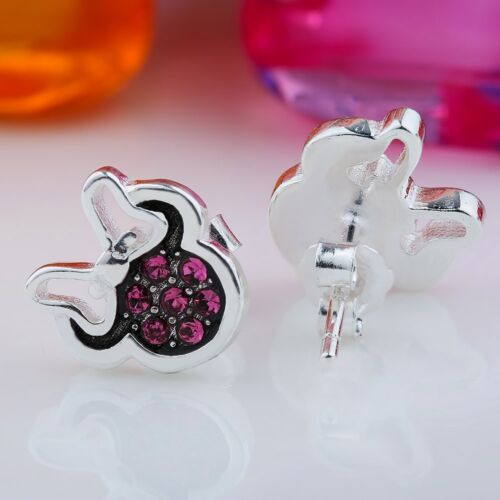Solid 925 Silver Sterling Disney minnie mouse Bow stone studs earrings gift box