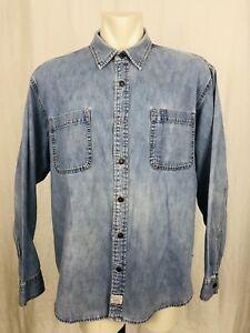 Vintage-Levis-Denim-Shirt-Mens-XXL-Long-Sleeved-Blue