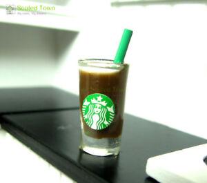 Set of 5 Starbucks Latte Dollhouse Miniatures Food Soft Drink Beverage