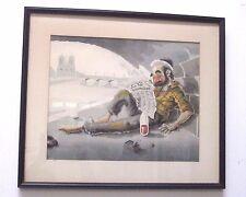 A.M. D'arcy Clochards de Paris La Vie Financière Lithograph Art Framed Bums