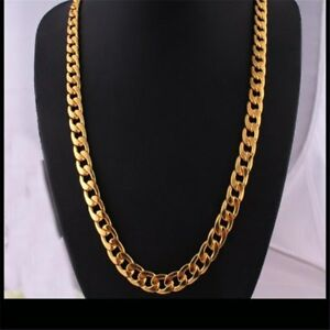 18-20-22-24-26-28-30-034-Men-039-s-Stainless-Steel-Gold-Filled-Chain-Necklace-Jewelry