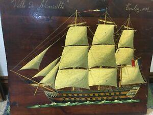 "MARINE OIL PAINTING OF A ""MAN O WAR"" ON PANEL ""VILLE DE MARSEILLE TOULON 1836"""