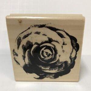 Rubber-Stamp-Botanical-Flower-Romantic-Feminine-Wood-Mounted-3-034-Square-Block-NOS