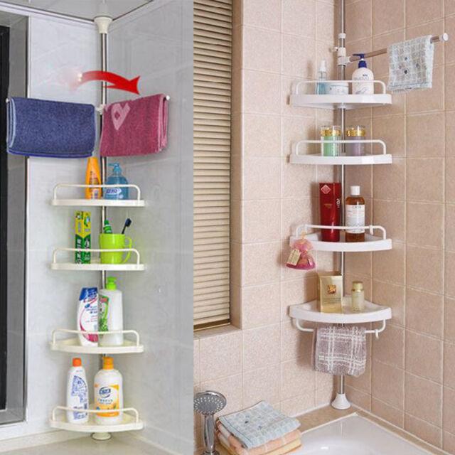 4 Layers Shower Corner Caddy Shelf Bathroom Wall Storage Rack Holder ...