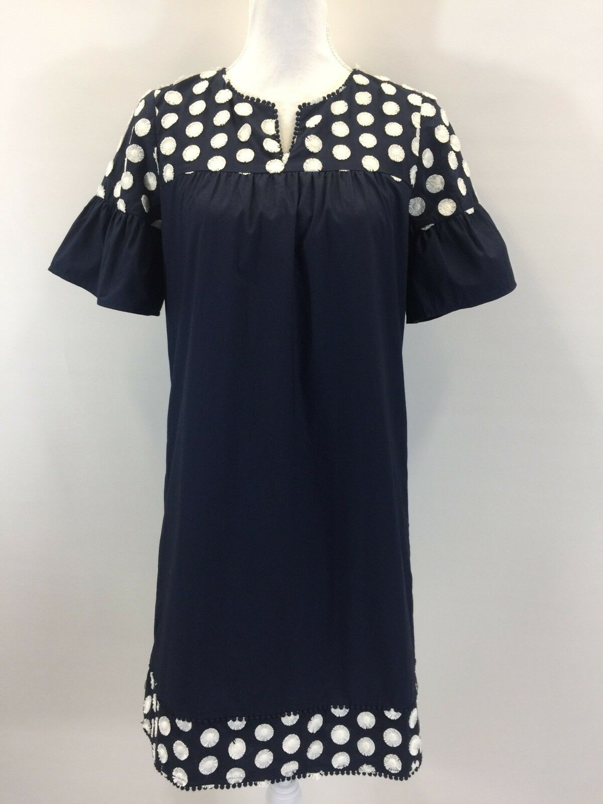 New JCrew Bell Sleeve Dress With Fringe Dot Navy Cream G3695 Size 4 SOLD OUT