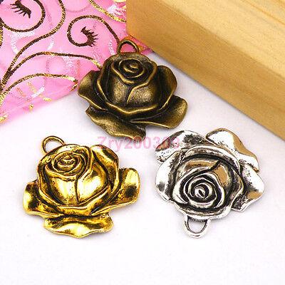 5Pcs Tibetan Silver,Antiqued Gold,Bronze Rose Flower Charms Pendants M1211