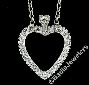 Antique-14k-White-Gold-1-00ctw-Single-Cut-Diamond-Open-Heart-Pendant-w-Chain