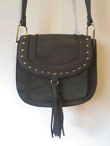 ba45df2fcb NEW Franco Sarto black fringe bag purse crossbody faux leather | eBay