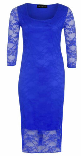 New Womens Bodycon Midi Dress Lace Floral Pencil Cocktail Party Evening Dresses