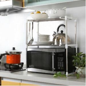 2Tier-Stainless-Rack-Multifunction-Kitchen-Microwave-Oven-Shelf-Storage-Holder-Z