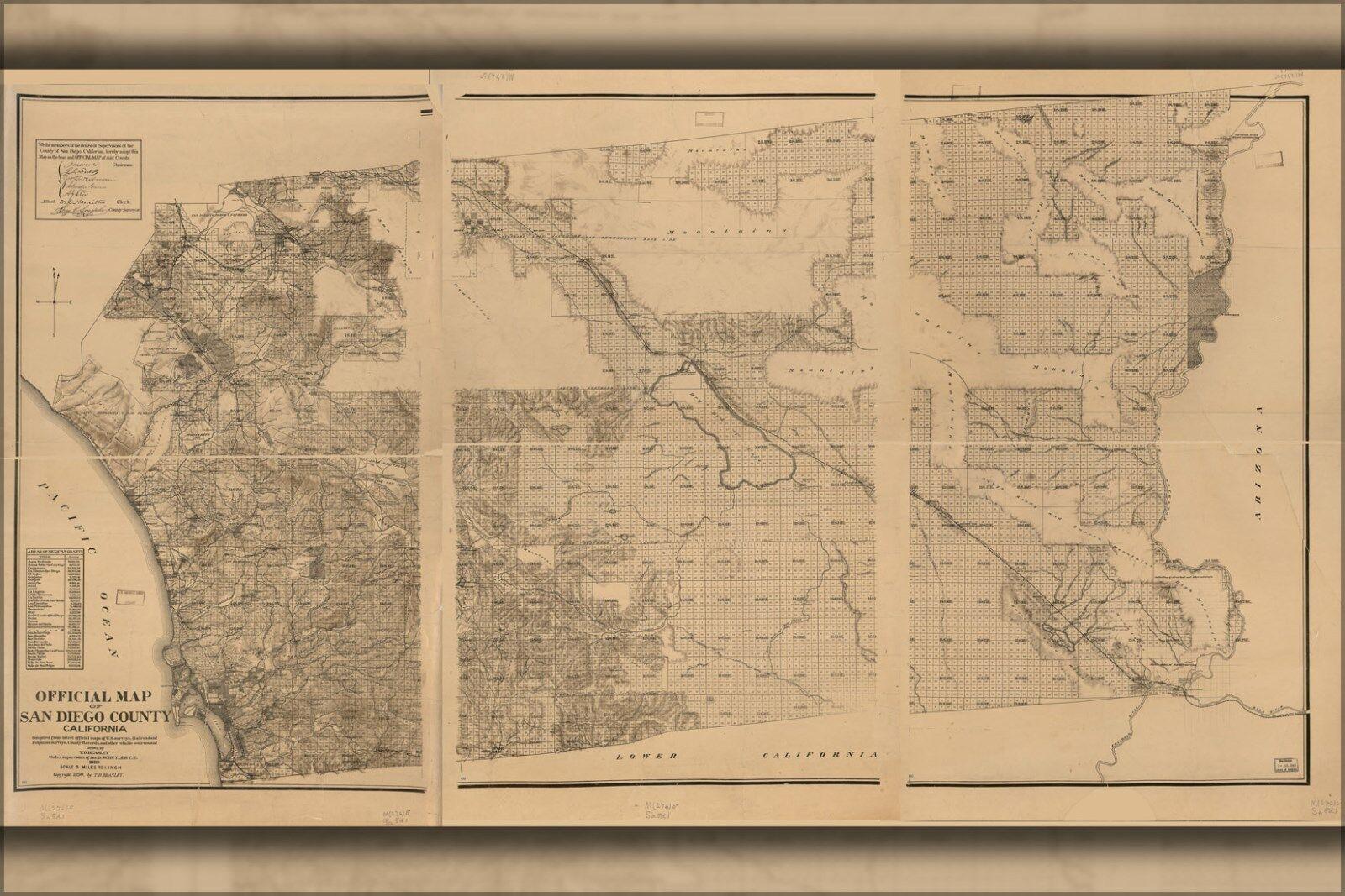 Plakat, Viele Größen; Offiziell Karte von San Diego Grafschaft,